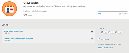Two units that make up the CRM Basics module