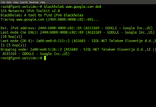 SI6 Networks' IPv6 Toolkit's blackhole6 tool.
