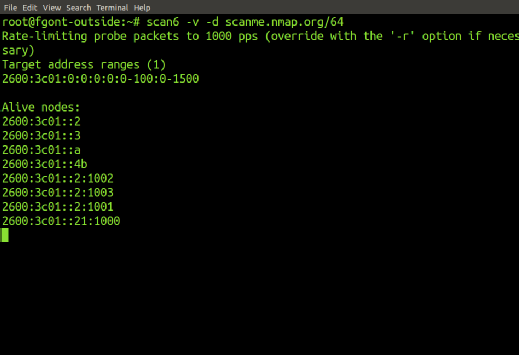 SI6 Networks' IPv6 Toolkit's scan 6 tool.