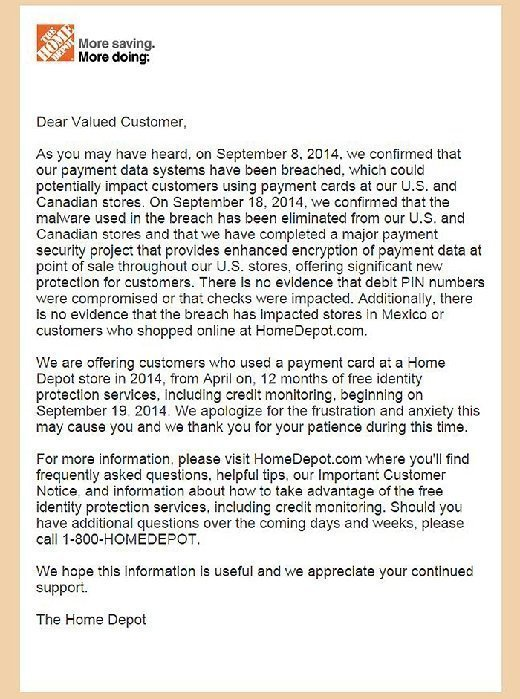 Full text of Home Depot data breach email to customers