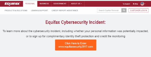 Equifax cybersecurity incident alert