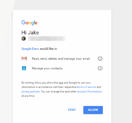 Google Docs phishing victims were fooled by this screen, which looks legitimate unless you click on 'Google Docs.'