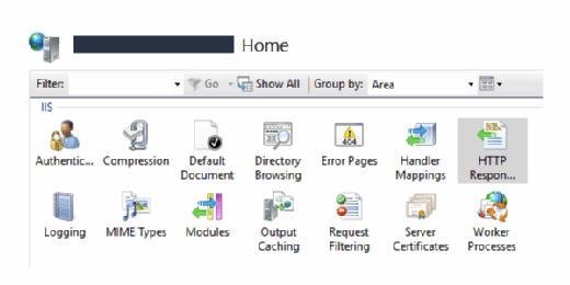 Im Bereich Home des IIS Managers finden sich die HTTP Response Header.
