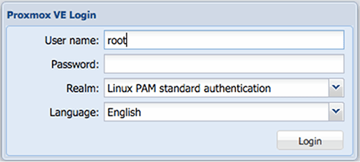 Logging in to Proxmox.