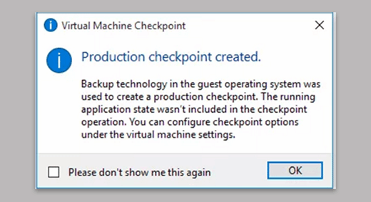 Production checkpoint created.