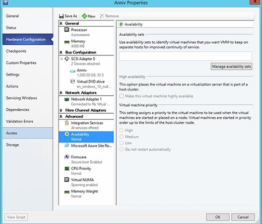 Set a VM's priority in SCVMM