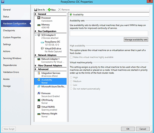 Setting a VM's priority.