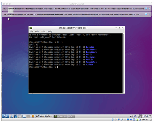 A terminal session in Linux on VirtualBox
