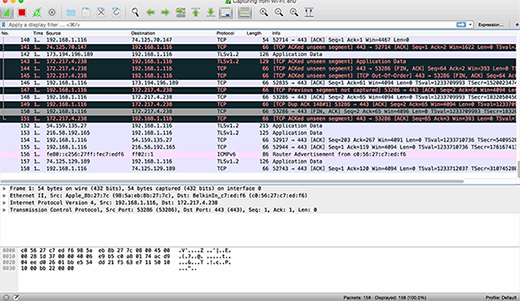 A Wireshark screen capture