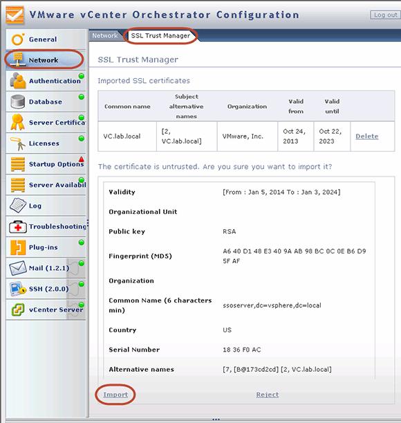 从vCenter中导入标准服务证书