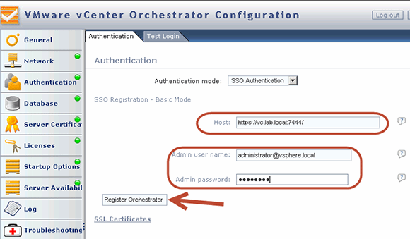Set up SSO authentication in vCenter Orchestrator