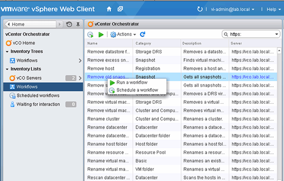Workflows for vCenter Orchestrator in the vSphere Web Client
