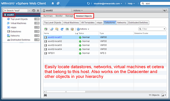Related objects in vSphere Web Client window