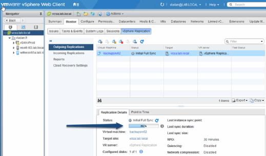 Monitor outgoing VMware vSphere Replication details.