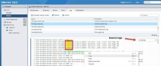 Search for logs in the VMware Host Client.