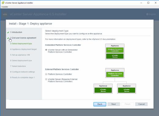 vCSA 6.5 kann mit integriertem oder externem PSC installiert werden.