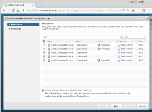 Selecting logs in the vSphere Web Client