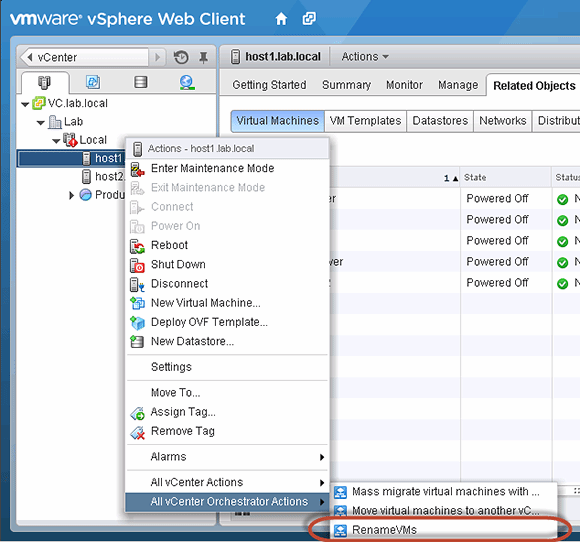The workflow appears under the All vCenter Orchestrator Actions menu