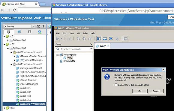 VMware Workstation warning message