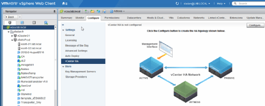 vCenter Server High Availability Network.
