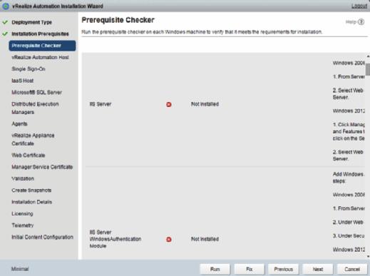 vRealize Automation 7 installation wizard prerequisite checker.
