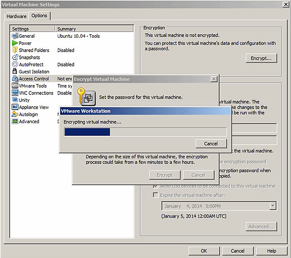 Workstation 10 VM encryption