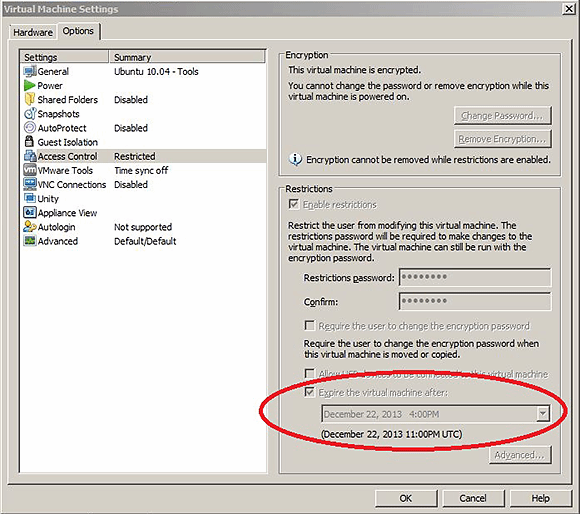 Put an expiration date on a VM with Workstation 10.
