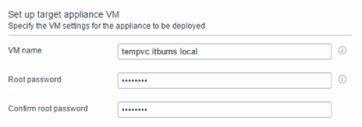Set up target appliance VM name.