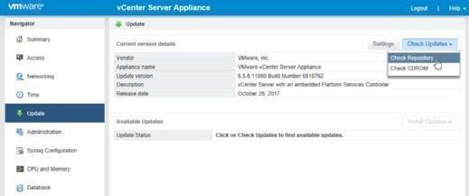 Check for recent vCenter Server updates.