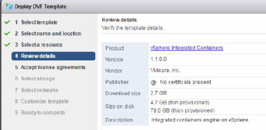 Verify vSphere Integrated Container template details.