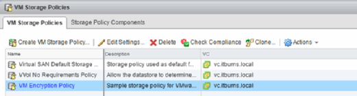 VM Storage Policy options.