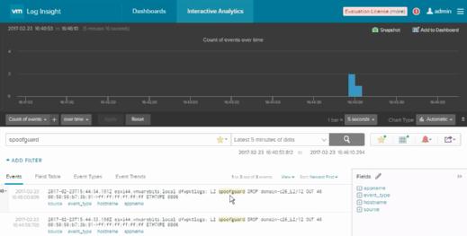 NSX-Befehlszeile mit Filter für SpoofGuard-Einträge.