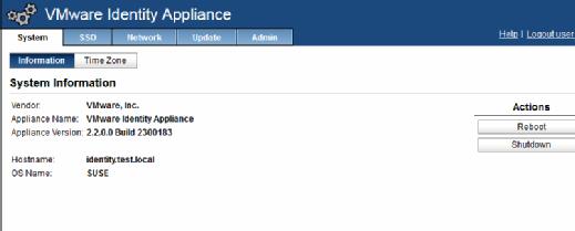 Identity Appliance system info
