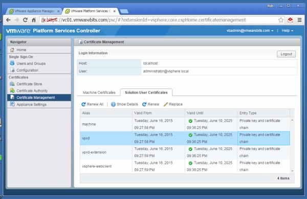 Platform Services Controller interface