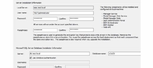 Server installation info