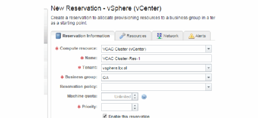 New reservation in vSphere