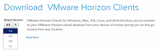 VMware Horizon Clients download options