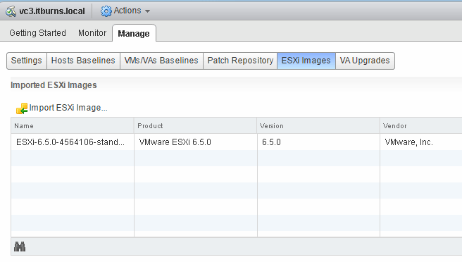 Import the ESXi Image.