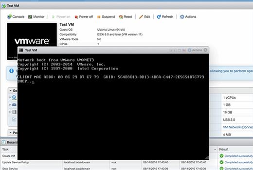 Test VM console screen.