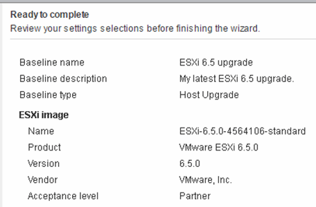 Review ESXI 6.5 upgrade settings