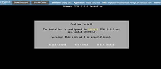 Confirming ESXi installation.