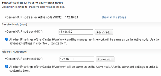 Selecting node IP settings.