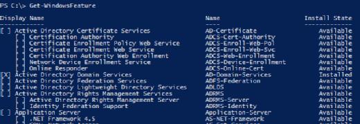 Get-WindowsFeature options