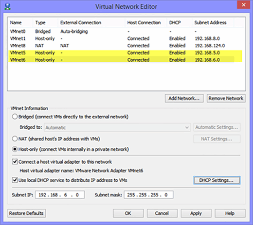 Virtual Network Editor in VMware Workstation