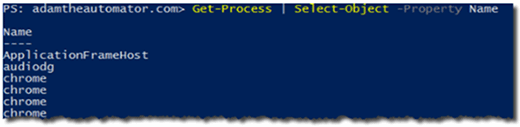 Select-Object with Get-Process in PowerShell.