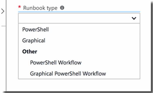 Azure runbook options.