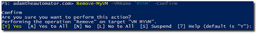 Confirm an action with the Confirm parameter