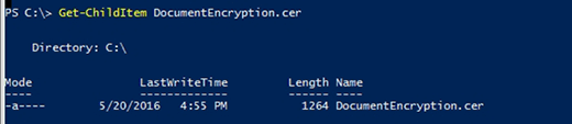 Get-ChildItem cmdlet confirms DocumentEncryption file.
