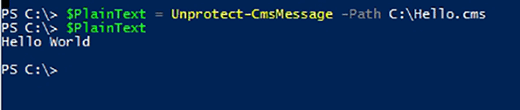 Unprotect-CmsMessage decrypts file contents.