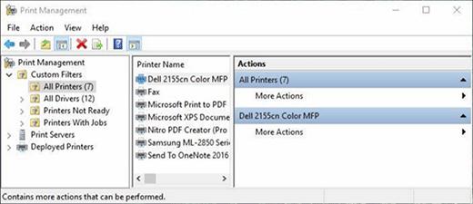 Printer management in Windows.